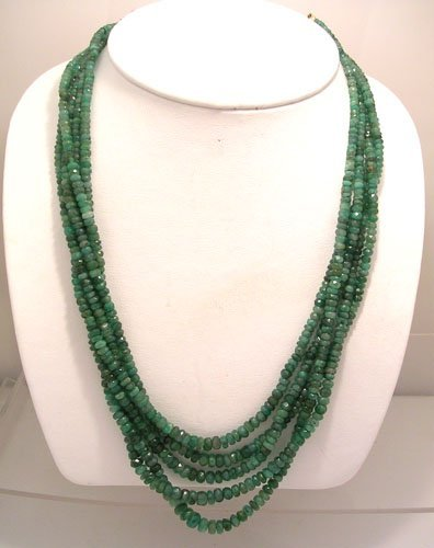 1914: 325CT 5 Strand Genunine Facted Emerald Necklace