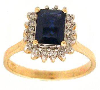 1915: 14KY 1ct Sapphire E-cut .20ct Diamond Ring