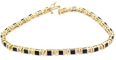 1918: 14KY 4cttw sapphire square .50ct diamond Bracelet
