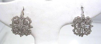 1919: 14KW .62cttw Diamond Snowflake Hook Earring