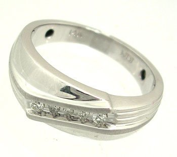 1920: 14KW .25ct Diamond Round Ribbed Mens Ring