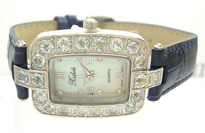 1923: SS Blue Topaz Rochelle Blue Band Watch