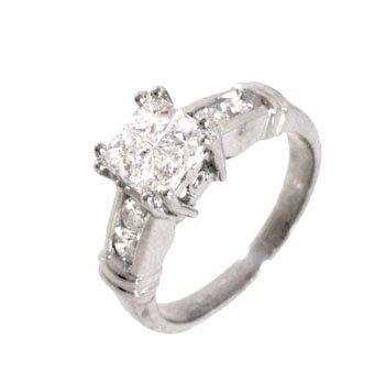 1971: PLATINUM 1cttw Diamond princess invisible ring