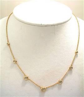 14KY .25cttw Diamond bezel station necklace
