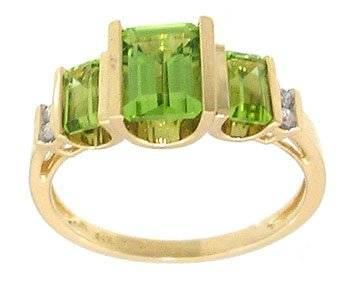 14KY .75ct Peridot 3 emerald cut Diamond ring
