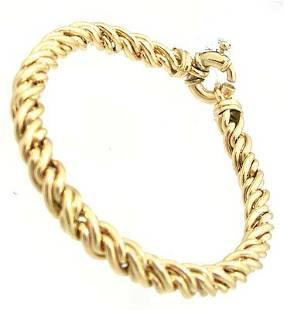 14KY Italian Circle Swirl Link Bracelet 19gm