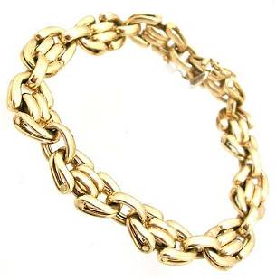 14KY Italian Curved Polish Link Bracelet 17.4gm