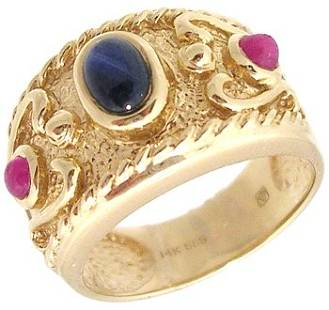 14KY Cabachon Oval Blue Saph Ruby Etruscan Style