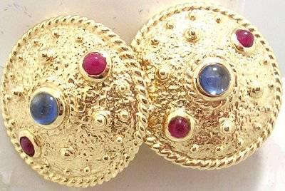 14KY Cabachon Ruby Blue Saph Aztec Disc Earring 1