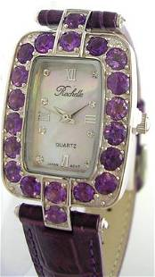 SS Amethyst Rochelle Leather Purple Band Watch