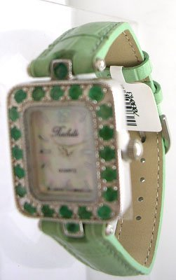1221: SSilver .66ct Emerald Rochelle Ladies Green Strap