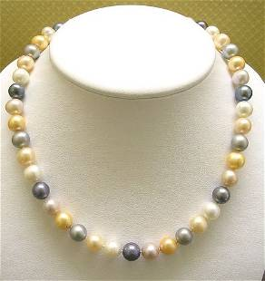 SSilver HUGE 10/11mm Mixed Pearl Necklace