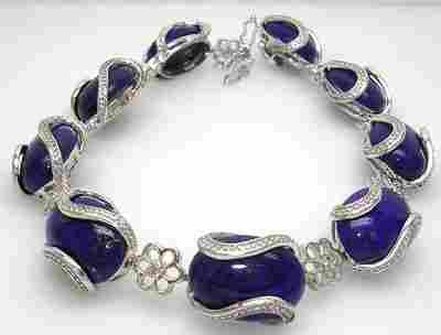 14KW 42.24ct Lapis Oval Diamond Bracelet