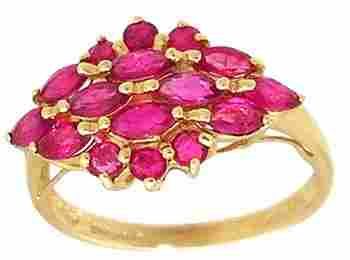 14KY .90ctw Ruby Marquise Round cluster Ring