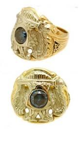 1314: 14KY 1.13ct Blue Diamond Gothic Masonic Mens Ring