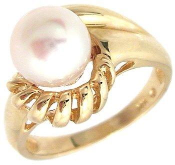 1602: 14KY 7.5mm Akoya Pink Pearl Swirl Ring