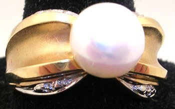 1603: 14KY 7.75mm Freshwater Pearl 2Tone Satin Finish R