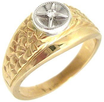 1609: 14ky Diamond Star Mans nugget ring