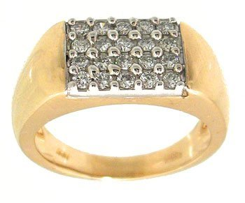 1610: 14KY .50cttw Diamond mans 4 row band ring
