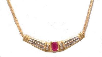 902: 14KY .92cttw Ruby E-cut Dia Rd Baguette Necklace