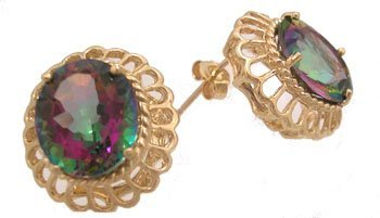 903: 14KY 10ct Mystic Topaz Oval scallop earing