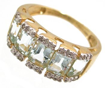 908: 10KY 1.60ct Aquamarine E-cut Diamond Band Ring