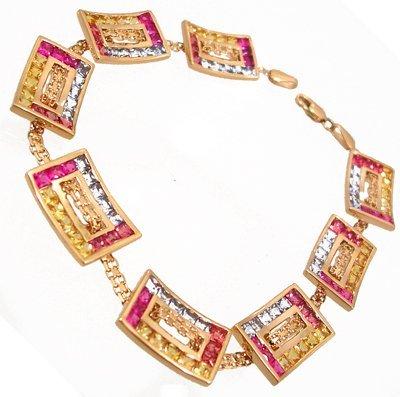912: 14KY 10.72cttw Multi-Sapp Princess Square Bracelet