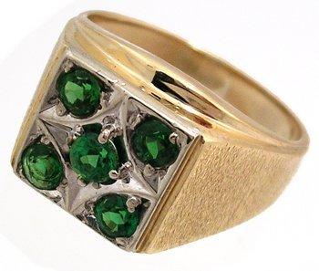 913: 14KY 1.11ct Tsavorite Garnet manssquare ring
