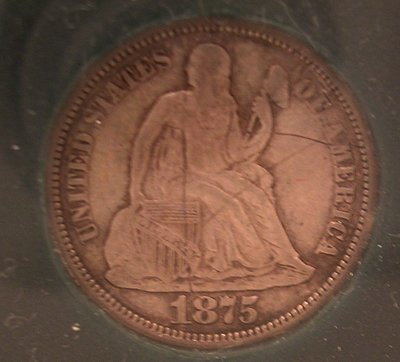 916: Silver 1875 VF Seated Liberty Dime Coin Scratch