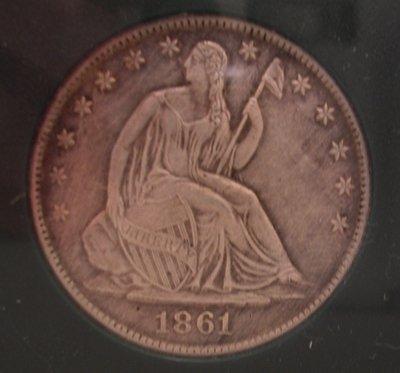 917: Silver 1861-O XF Seated Liberty Half Dollar Coin