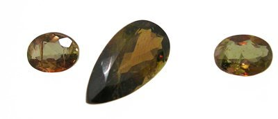 922: 6.87ct Andalusite Pear 2 Oval Loose Suite