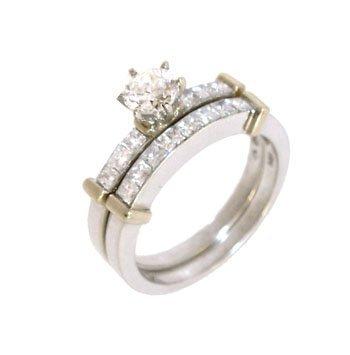 961: 14KW .47ct Diamond rd .90ct princess 2pc ring