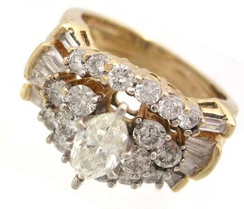 962: 14KY 1.82ctw Diamond Rd Marquise Ring
