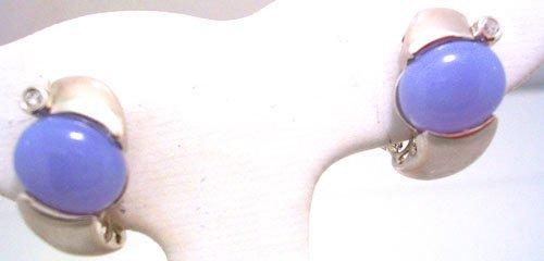8200: 14KW Chalcedony Diamond Satin Brushed Earrings 8g