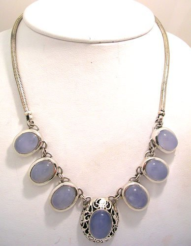 8201: SSilver Chalcedony Oval Filigree Snake Necklace