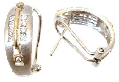 8209: 14KW .33ct Diamond rd channel 2tone earring