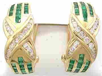 8366: 14KY .75cttw Emerald .15cttw Diamond Channel Styl