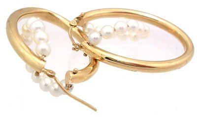 8378: 14kt Gold and Pearl double hoop earrings