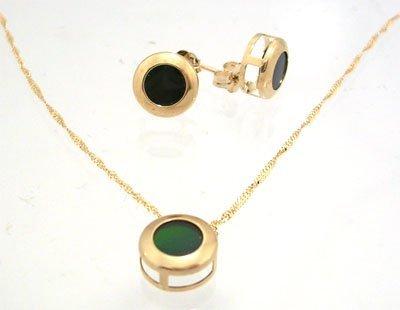 804: 14KY Ammolite round bezel earring & Pendant w chai