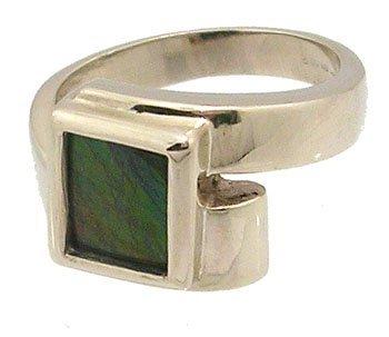 806: 14KW Ammolite emerald cut bypass ring