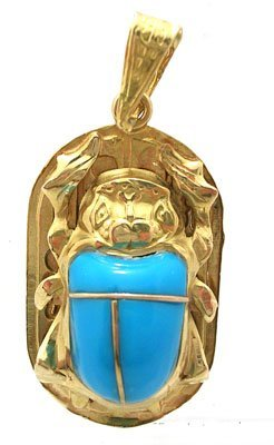 810: 18KY Real Turquoise Egyptian Cartouche Scarab Pend