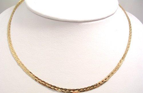 811: 14KY Italian Braided Serpentine Necklace 4.7gm