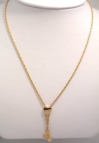813: 14KY Italian Heart Square Link Necklace