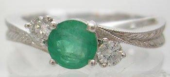 814: 14KW .40ct Emerald Round .14ct Diamond Ring