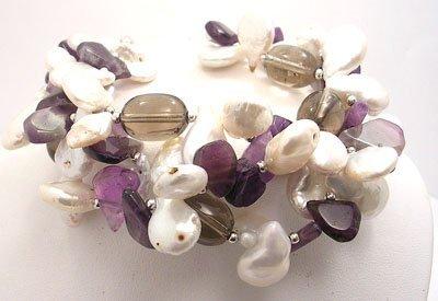 817: SSilver Amethyst Pearl 3-Strand Bracelet