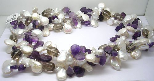 818: SSilver Amethyst Pearl 3-Strand Necklace