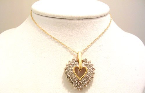 959: 14KY 7/8cttw Diamond Heart Pendant/CHAIN