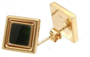 3103: 14KY Ammolite square bezel stud earring