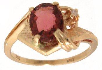 3108: 14KY 1.40ct Rubelite Tourmaline Dia Fancy Ring