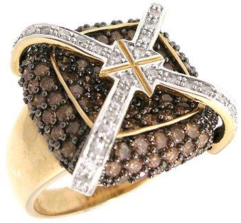 3111: 14KY 2.30cttw Fancy White Diamond X-Design Ring 7